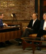Host Ryan Tubridy, Richard E. Grant, and Gabriel Byrne