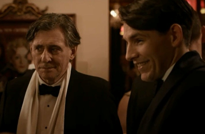 Gabriel Byrne as Quirke and Colin Morgan as Jimmy Minor