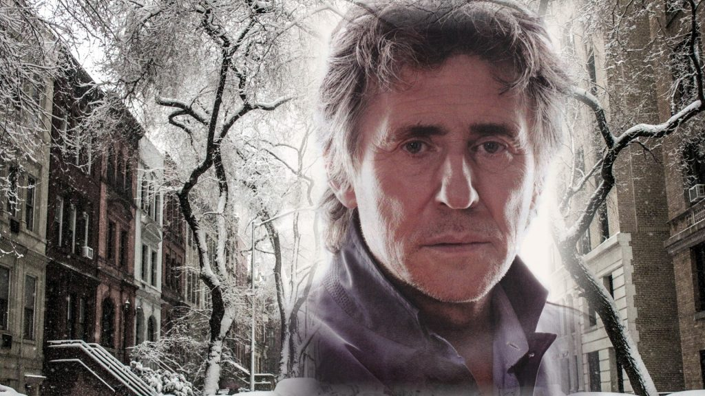 Winter street scene Gabriel Byrne Holiday Wallpaper
